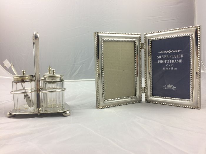 Silver plated cruet set on stand & silver plated photo frame. Made in England