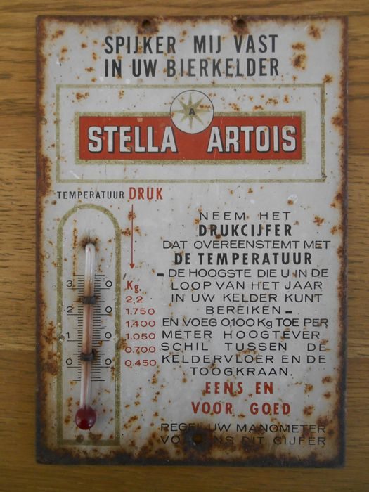 Metal thermometer Stella Artois from the 1950s
