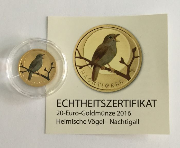 Germany - 20 Euro 2016-A Nachtigall - Colored 1/8 oz - Gold