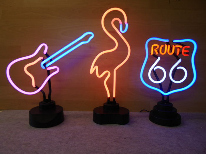 3x Neon lighting: ROUTE 66 + FLAMINGO + GUITAR - late 20th century