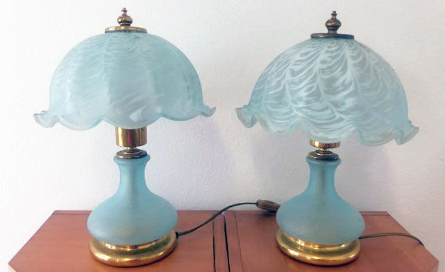 Murano (Vm label)- Pair of blue glass lamps
