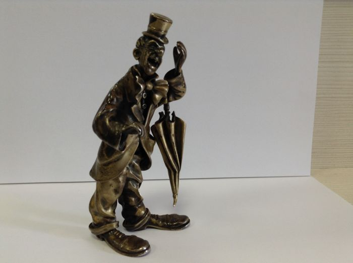 Unique solid silver Italian  clown, Vittorio Angini. Italy, second half 20th century