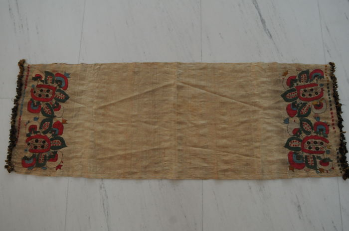 Fine Syrian scarf, silk, antique, approx. 123 x 44 cm