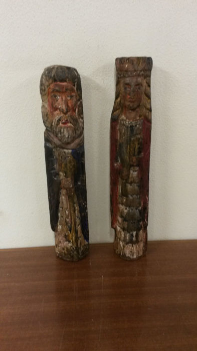 Two wooden caryatids 20th century -Spain