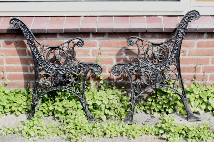 A Set Of Cast Iron Garden Bench Supports, Ca. 1930