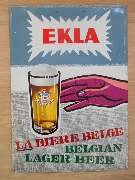 Very rare metal sign for Ekla beer from the 1950s