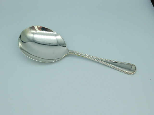 Silver rice spoon, model double round filet, Zilverfabriek Voorschoten NV, Voorschoten, 1941