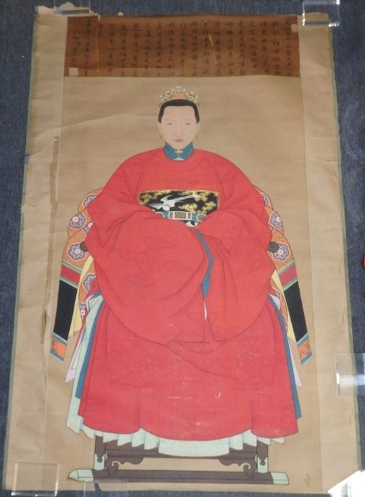 Large ancestor portraits of a lady in red robe with calligraphy  - China - 1817 嘉慶丁丑