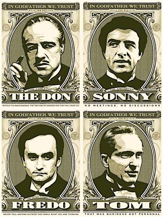 Shepard Fairey (OBEY) - In Godfather We Trust (Full set/ matching numbers)