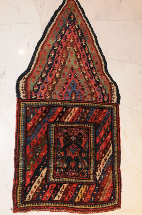 Magnificent small carpet of mixed technique, Iran around 1900, approx. 110 x 52 cm