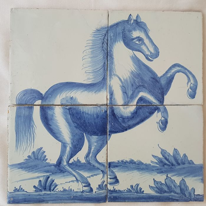 19th century tile tableau with horse