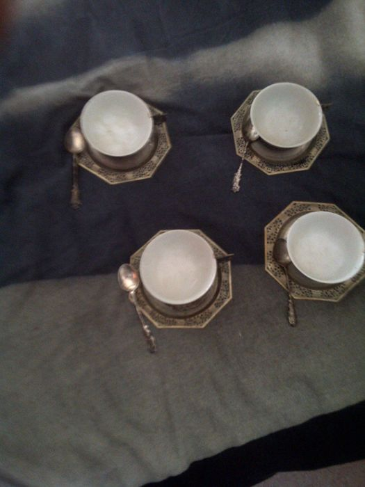 Tea set in silver and porcelain - Indochina - 1940/50