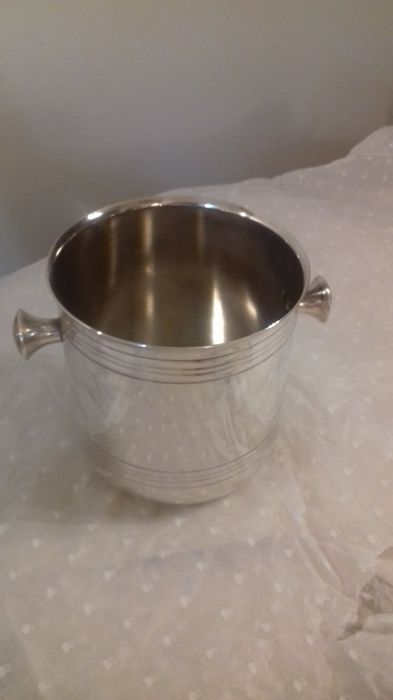 Christofle ice bucket, silver plated metal, signed + 2 hallmarks