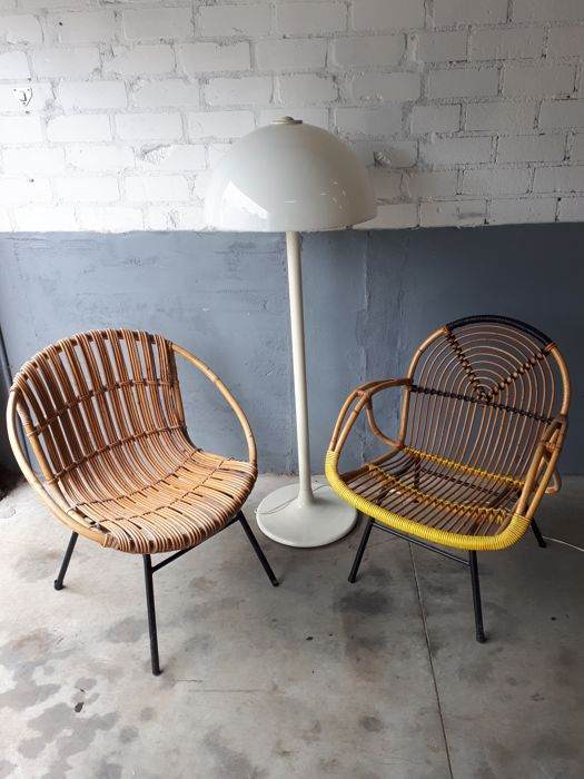 Two Vintage Rattan Chairs, Netherlands, Mid 20th Century
