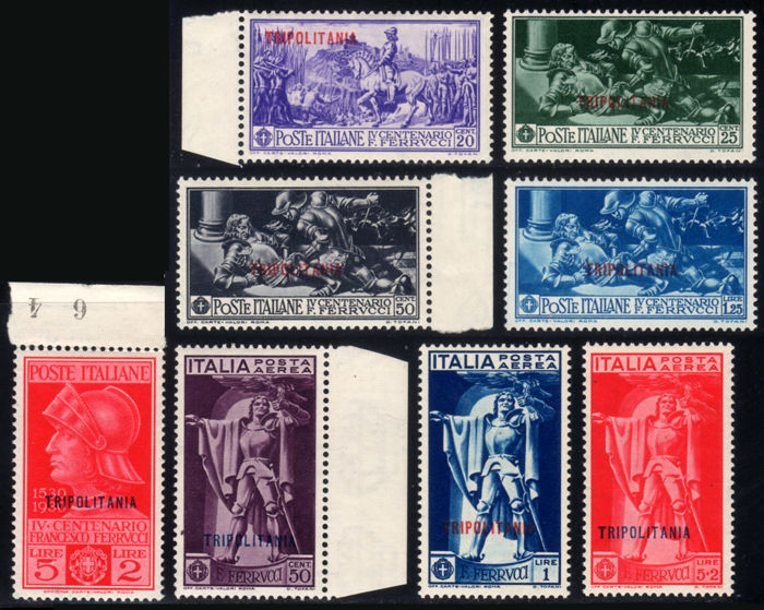 Italian Tripolitania 1930 - Ferrucci complete with Airmail - Sassone N. S17a