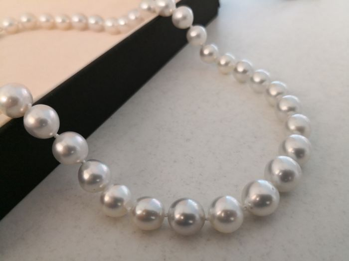 Necklace Australian pearls size 9-10 mm natural silver grey pearls 42 round pearls and very high lustre  No reserve