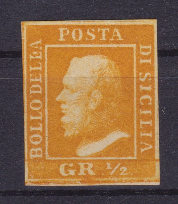 Sicily, 1859 - 1/2 Grano, orange, table II, position no. 13 - Sassone no. 2a