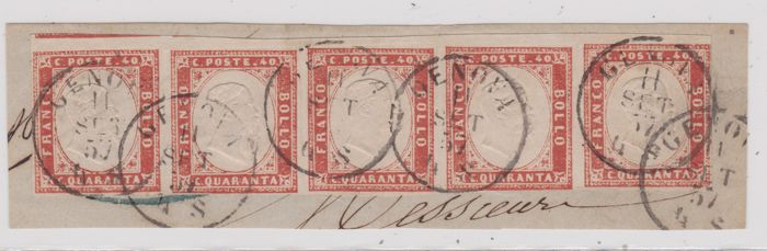 Sardinia 1855/1863 - Cent. 40  scarlet red, strip of 5 used on fragment, cancelled in Genoa - Sass.  No  16A