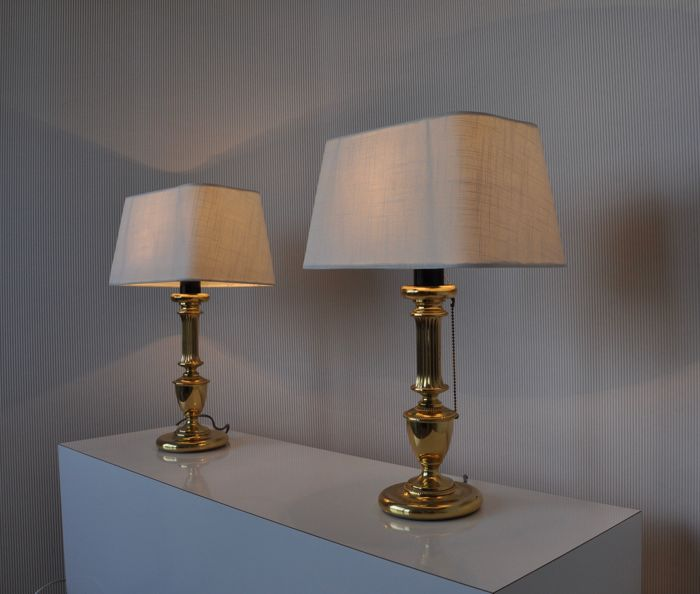 Manufacturer unknown chic english gold coloured brass table lamps manufacturer unknown chic english gold coloured brass table lamps with fabric lamp shades aloadofball Gallery