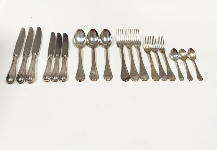 Cutlery Set for 3 people in silver 800 and in English style