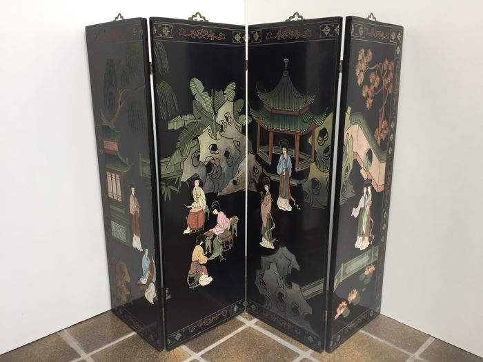Chinese quadriptych lacquered in black - China - 2nd half 20th century