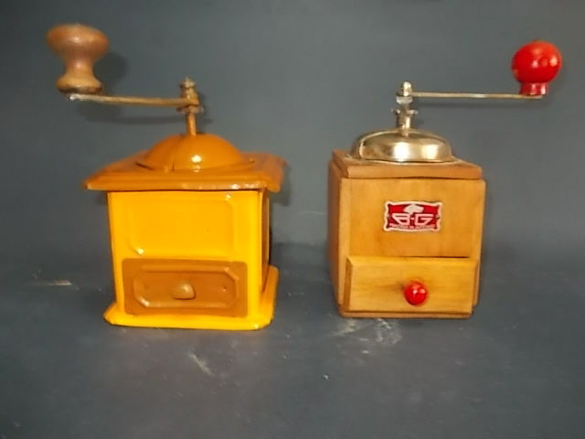 Pair of old coffee grinders made of wood and iron, Italy, early 1900s