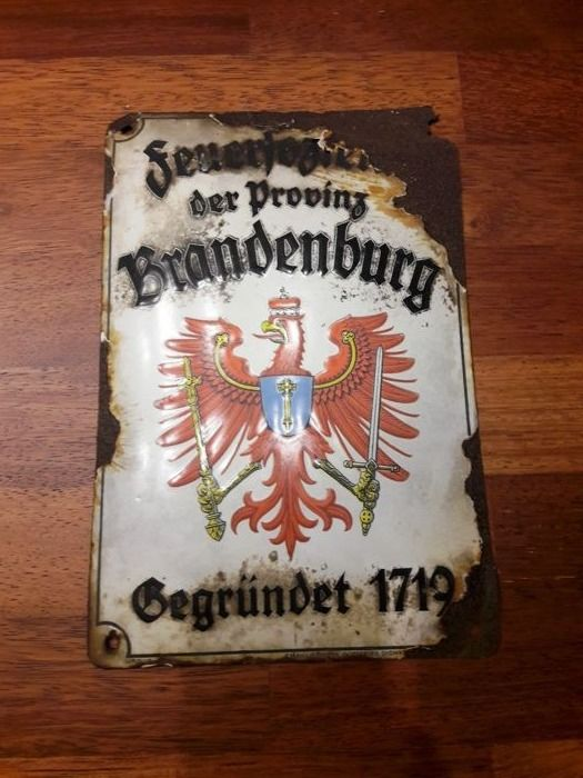 Vintage - porcelain enamel - Firefighters Union coat - BRANDENBURG - Germany. ca, 1930-40y + 3x gratis: made in Poland Vintage ca.1960/70.