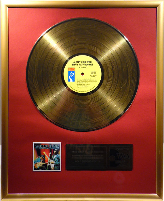 """Albert King with Stevie Ray Vaughan - In Session -  12"""" Stax record gold plated record by WWA Awards"""