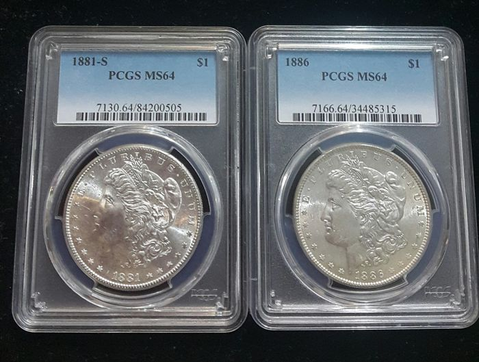 United States - Dollar (Morgan) 1881 S + 1886 in PCGS Slabs - silver