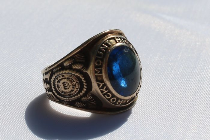 High School Ring, Rocky Mount 1969 set with a London blue topaz 12.26 grams