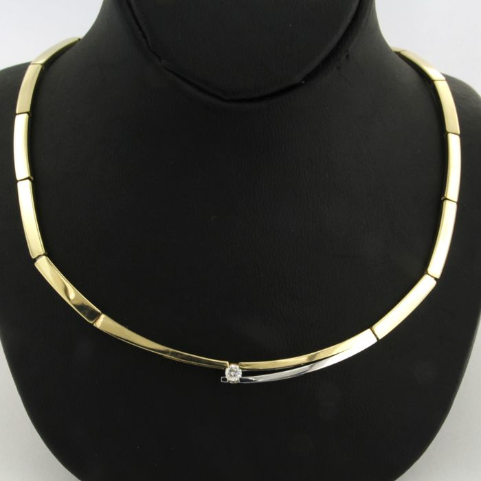 14 kt, bi-colour gold necklace set with a brilliant cut diamond, approx. 0.10 carat in total - 50 cm