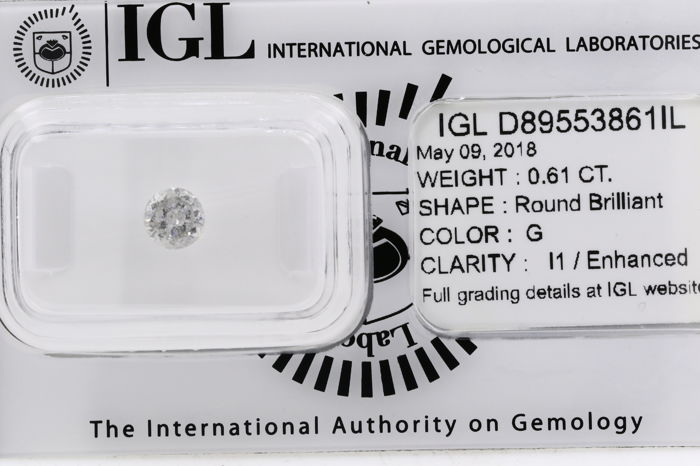 0.61ct Round Brilliant cut -  G  I1 - very low reserve
