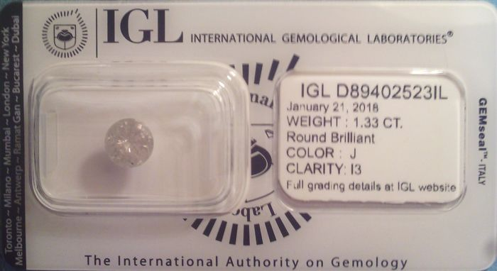 Diamond, 1.33 ct, J I3, IGL