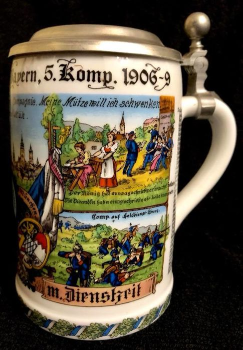 A , vintage , Germany , Dr MERKLE porcelain , luxury BEER MUG , with pewter cover , decorated depictiing scenes of 3rd InfanteryRegiment Prinz Karl Von Bayern  (5 Komp 1906-9 )