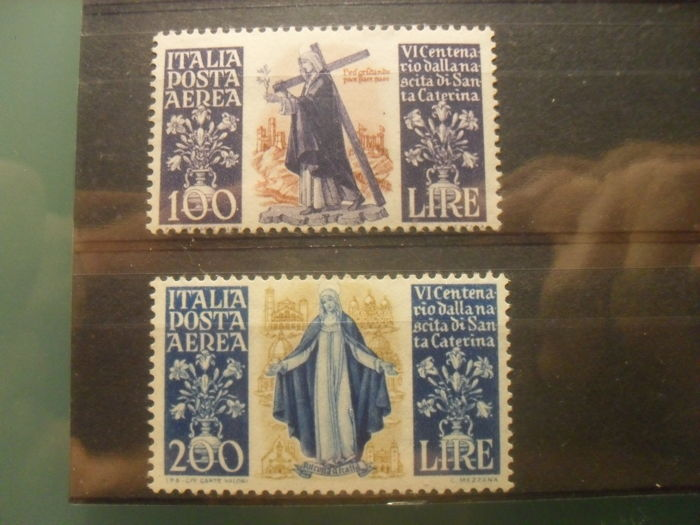 Italy, Republic 1948 - Airmail St. Catherine series of 2 stamps - Sass.  No  S1530