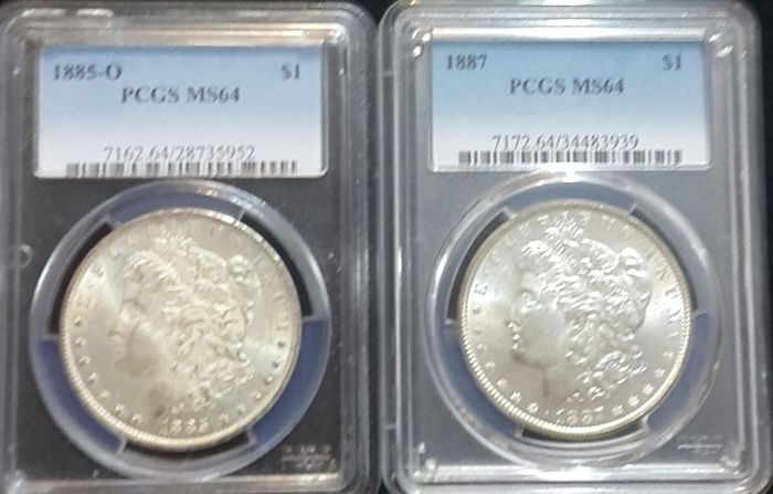 United States - Dollar (Morgan) 1885-O + 1887 in PCGS slab - silver