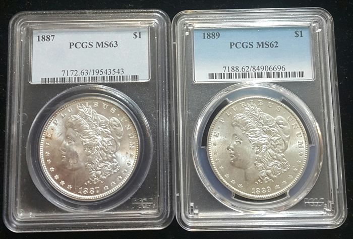 United States - Dollar (Morgan) 1887 + 1889 in PCGS Slabs - silver