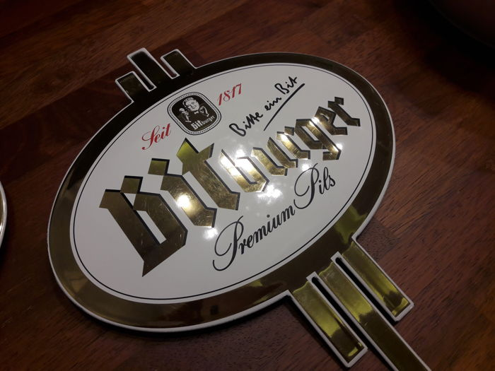 BITBURGER - porcelain enamel - gold-plated - perfect condition.