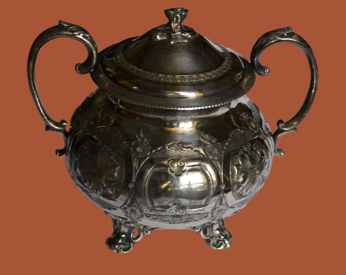 Silver plated metal ERCUIS sugar pot, circa 1900