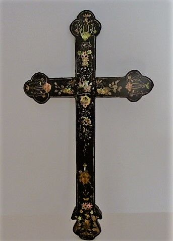 Very nice wooden cross with copper, mother of pearl, silver and exotic wood inlay - Neo-gothic - c. 1875 - France