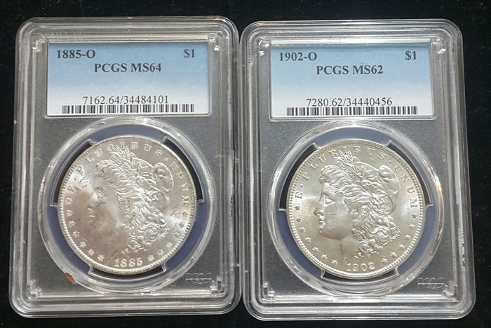 United States - Dollar (Morgan) 1885 O + 1902 O in PCGS Slabs - silver