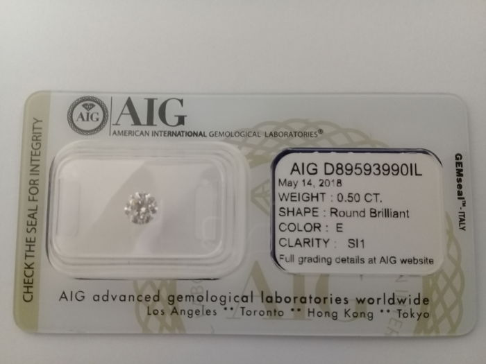 AIG 0.5ct E  SI1 Natural Diamond - Round Brilliant 3 x EX ****Low Reserve Price****