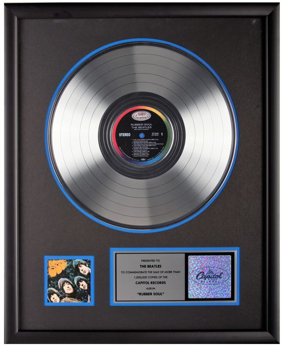 The Beatles - Capitol Records platinum award - Rubber Soul - PRESENTED TO THE BEATLES
