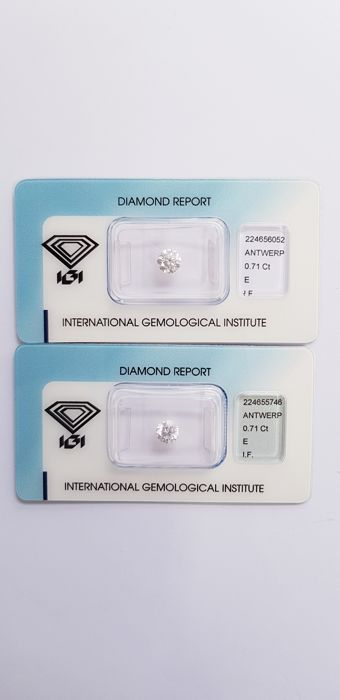 Couple of 1.42  ct brilliant cut diamonds, E I.F