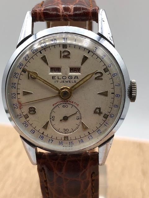 Eloga Watch Co. - Triple Date-Ultra Rare-Swiss - Venus203 - Men - 1950-1959