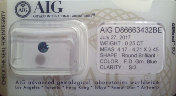 Diamond, 0.25 ct, Fancy Deep Greenish Blue EX-VG-VG