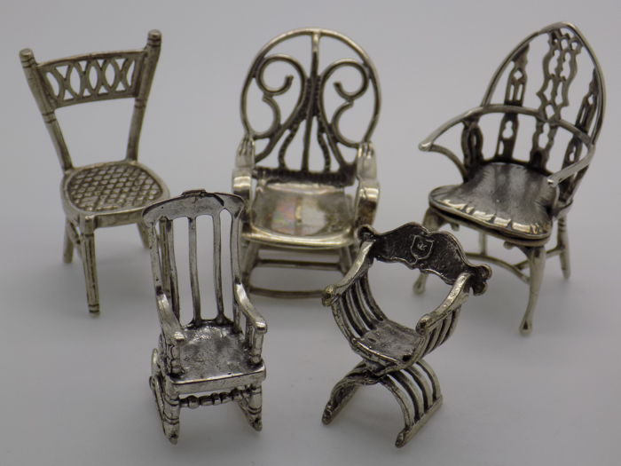 61g/2.15-oz. JOB LOT Vintage Solid Silver & Sterling Silver 925 Genuine Italian Made 5 x Chair Miniatures, Figurines, Dollhouse, Stamped