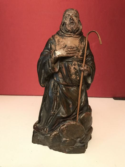Polychrome earthenware sculpture, Saint or pilgrim monk - Italy - 17th century