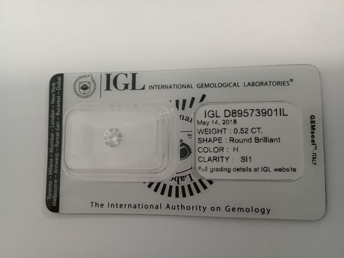 IGL 0.52ct H  SI1 Natural Diamond - Round Brilliant 3 x EX ****Low Reserve Price****