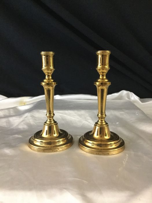 Pair of candlesticks in brass and alabaster - France - late 19th